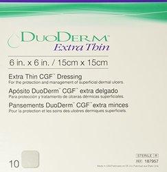 "Convatec DuoDERM Extra Thin Dressing, Square, 6"" x 6"", 10 per Box"