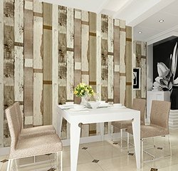 HAOKHOME Vinyl Vintage Faux Wood Panel Wallpaper - 57 Suqare feets/Roll