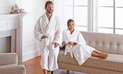 Wexley Home 100% Genuine Turkish Cotton Bath Robe - White - Size: S/M