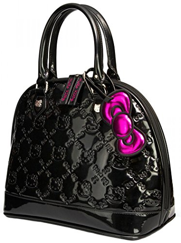 Loungefly Hello Kitty Black Shiny Patent Embossed Tote Bag New