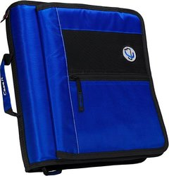 Case-it 2-Inch Round Ring Zipper Binder with Velcro Messenger Front - Blue