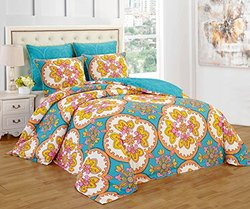 6-pc Reversible Microfiber Floral Comforter Set - Turquoise - Size: Queen