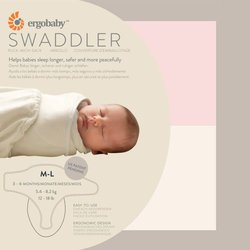 Ergobaby Swaddler 2 pack - 100% Cotton Baby Swaddle Blanket - Pink/Natural - Medium/Large