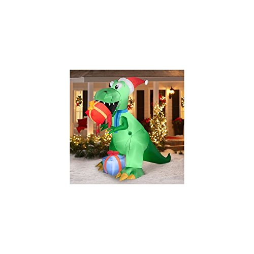 airblown inflatable christmas decor 75 t rex dinosaur eating gifts - Dinosaur Christmas Decorations
