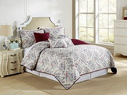 Pacific Coast Textiles 6 Piece Coverlet Set - Cream/Burgundy - Size: Queen