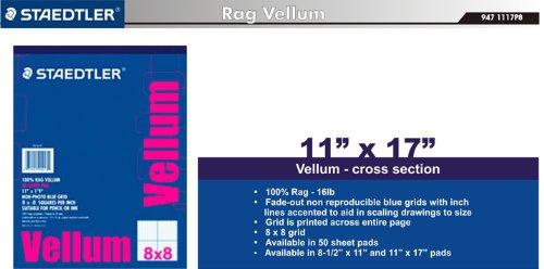 staedtler paper 100 rag vellum 8 x 8 grid 11 x 17 50 sheet pad