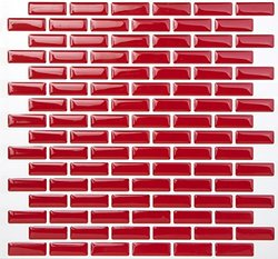 Tic Tac Tiles High Quality Anti-mold Peel and Stick Tile in Brick Rosered (AHBKW04)