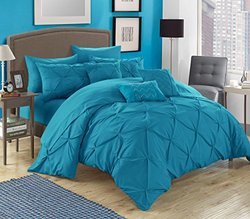 Chic Home 10 Piece Hannah Pinch Pleated Comforter Set - Turquoise - Size:K