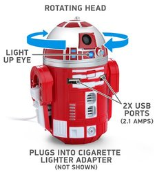Star Wars R2-D9 Droid Robot Figure USB Car Charger for Tablet/Phone - Red