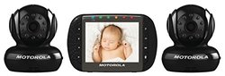 Motorola MBP36-B2 Remote Wireless Indoor Baby Monitor with 2 Cameras and 3.5-Inch Color LCD Screen and Remote Camera Pan, Tilt and Zoom