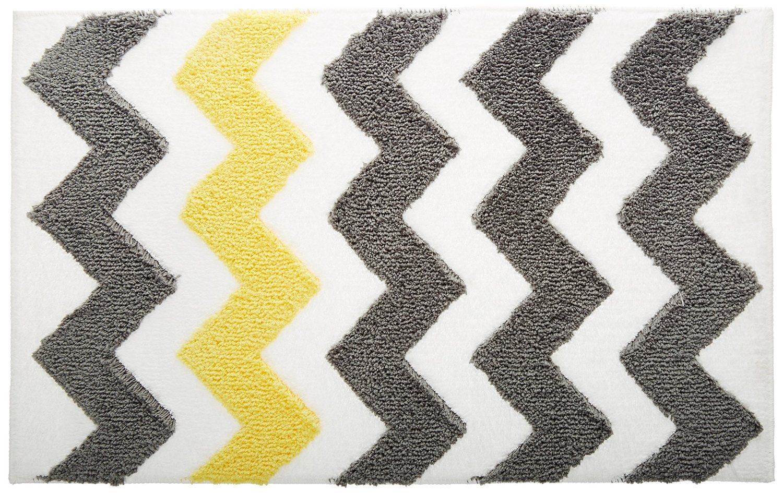 ... InterDesign Microfiber Chevron Bathroom Shower Accent Rug   Gray/Yellow  ...