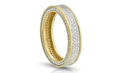 Sterling Silver 3-Row Cubic Zirconia Eternity Band - Size: 6
