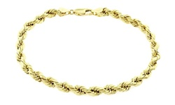 REL 14K Solid Yellow Gold Rope Bracelet - 8""