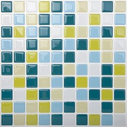 Tic Tac 10 Pc High Quality Anti-mold Peel & Stick Wall Tiles -Peacockgreen