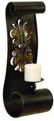 Benzara Artistically Designed Metal Candle Sconce - Black & Brown