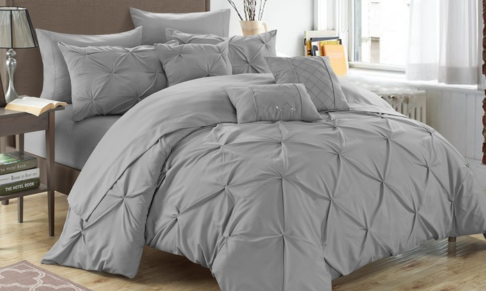 bedding free sets today wonder pc bath product shipping mona comforter set home pleated