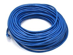Monoprice 100FT 24AWG Cat6 550MHz UTP Ethernet Bare Copper Network Cable - Blue