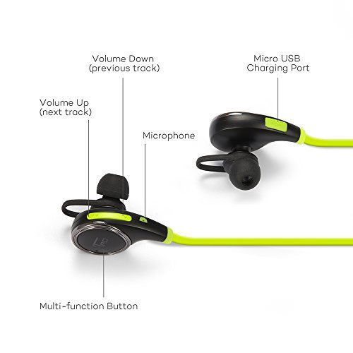 54aabf155ad ... TaoTronics Bluetooth Headphones Earbuds Headphones - Black/Green ...