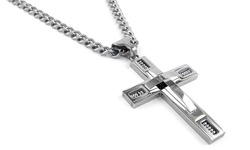 "Yedid Men's Stainless Steel Cross Pendant with 24"" Curb Chain"