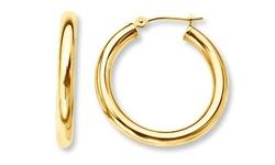 Yedid 14mm Women's Solid 14K Yellow Gold French Lock Hoop Earrings