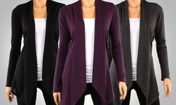 3-Pack Draped Hacci Cardigans - Black/Charcoal/Eggplant - Size: Small