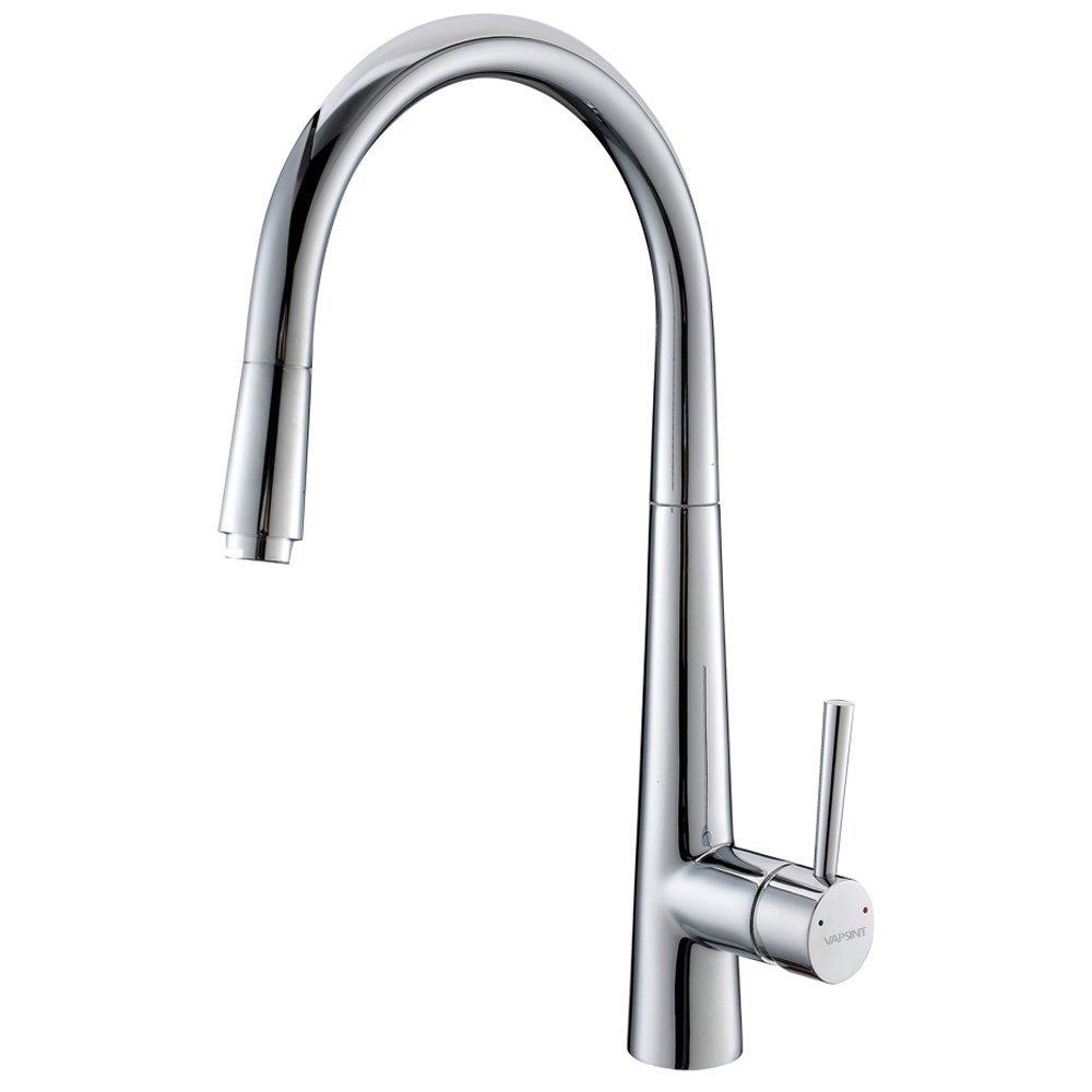 VAPSINT Single handle Pull Down High-flow Flexible Kitchen Sink ...