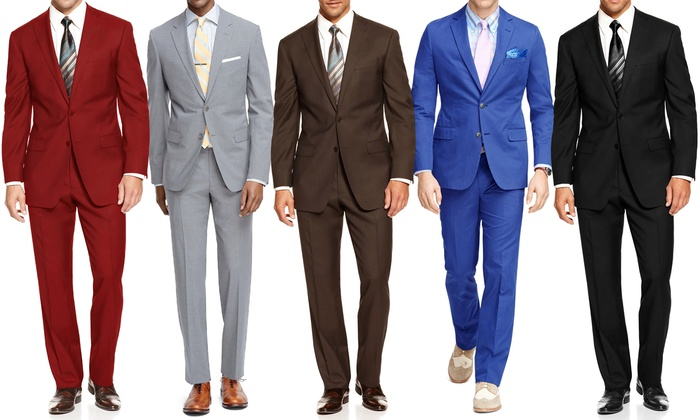 Bernardi Men's 2-Piece Suits - Black/Brown - Size: 46L/40W - Check