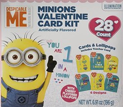28 Despicable Me Minion Made Valentine Card Kit with Cherry Candy Lollipop