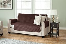 """75""""x110"""" Reversible Quilted Sofa Slipcover - Chocolate"""
