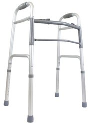 Ez2care Comfy Lightweight Handle Classic Folding Walker, Adjustable Height 32-39 Inch, Silver