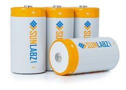 SunLabz Multipurpose D NiMH Rechargeable Batteries - Pack of 4