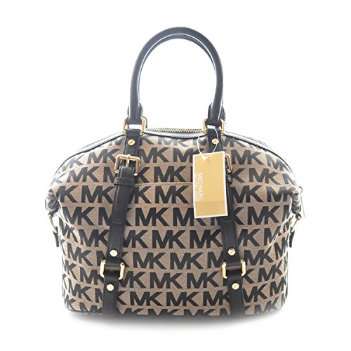 4c3f36d7563e6 Michael Kors Bedford Medium Satchel Beige   Black Jacquard - Check ...