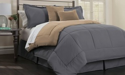 Ortex Home 6-Pcs Reversible Comforter Set - latinum Bamboo -Sz: Full/Queen