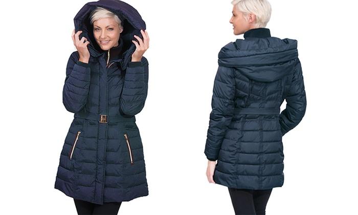 Kensie Women's Oversized Hooded Puffer Coat - Navy - Size ...