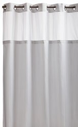 Hookless White Herringbone Polyester Shower Curtian with Fabric Liner