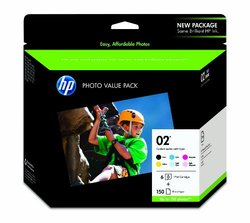 "HP 02 Series Ink Cartridges w/150 sheets 4""x 6"""