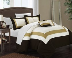 Chic Home Block Bed in a Bag Comforter Set - Gold - Size: King