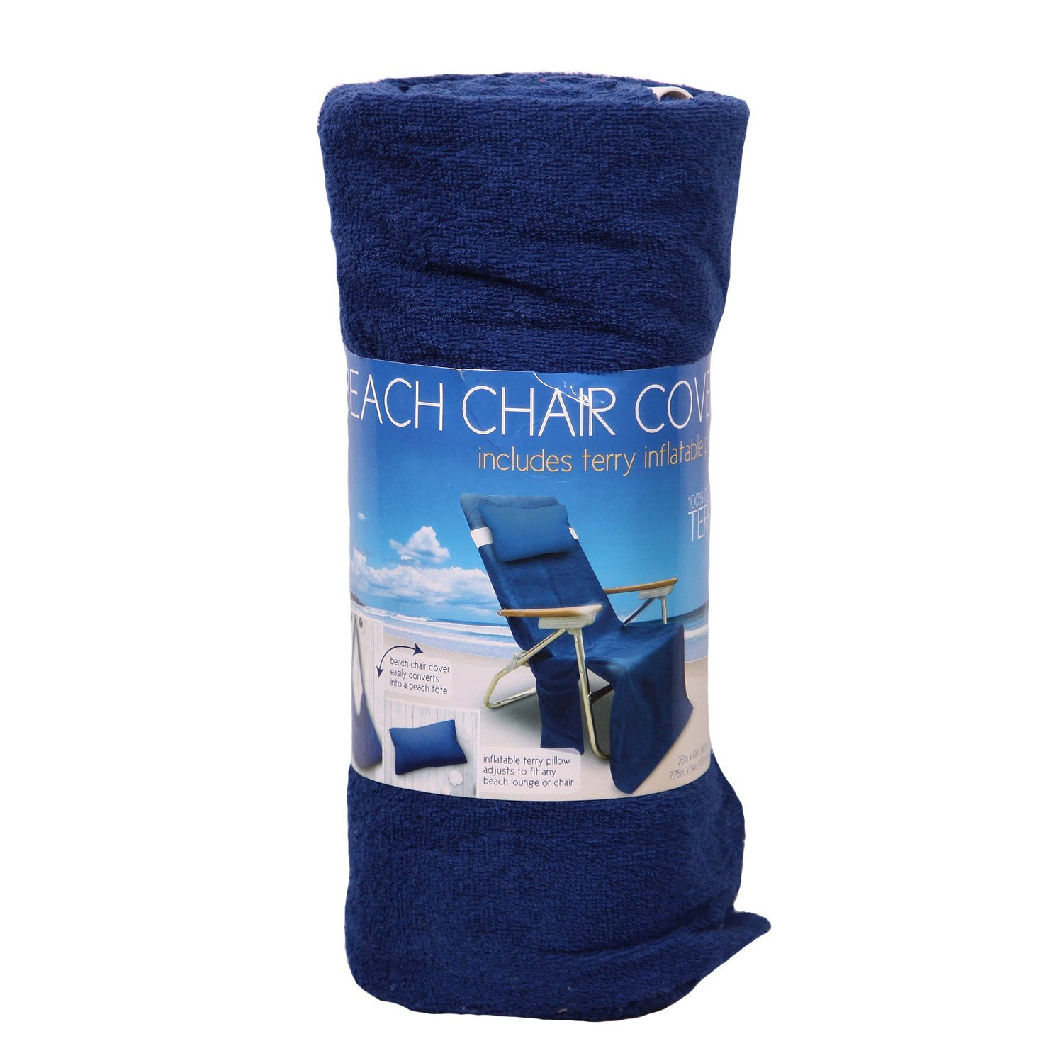 Morgan Home Beach Chair Cover Include Terry Inflatable Pillow Cover   Blue
