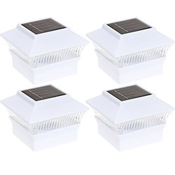 Green Lighting Solar Power Square White Outdoor Garden Light Pack of 4