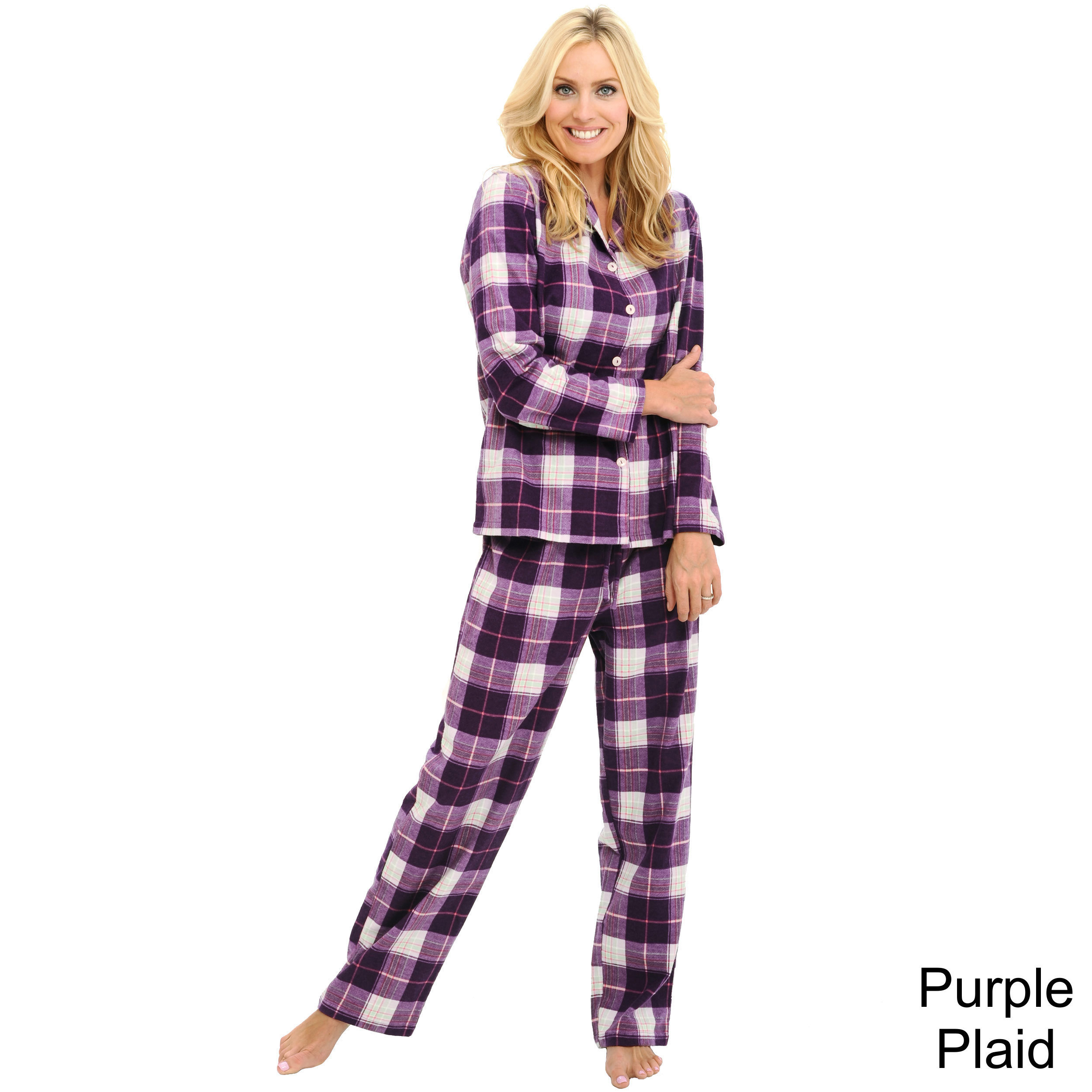 ee2241e2565c Alexander Del Rossa Women s Flannel Pajama Set - Purple Plaid - Sz  Small
