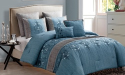 VC Chambray Embroidered 7-piece Comforter Set - Blue - Size: king