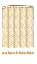 Indecor Home FSCREH-Regal-GLD Fabric Regal Shower Curtain and Resin Hook Set