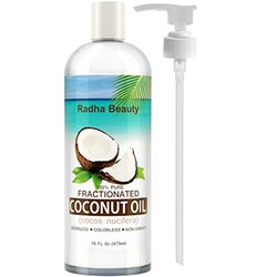 Radha Fractionated Coconut Oil 16 Oz - 100% Pure & Natural - One Of The Best Aromatherapy Carrier Oils - Free Pump , 16 Fl Oz