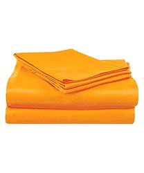 Super Brights Collection Microfiber Sheet Set: Orange/Full