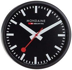 Mondaine Wall Clock Black Dial Black Frame - Schwarz