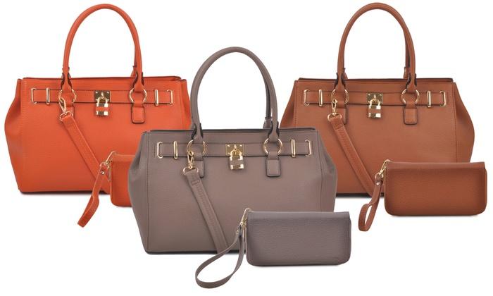 Deluxity Portia Satchel Handbag And Wallet Set Gray