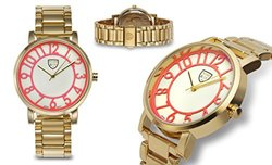 Ladies Watch: Picard & Cie Camilla 62625968 Gold Band-Red Dial