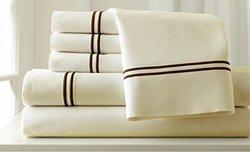 Pacific Coast Textiles Rich 6 Pc Sheet Set - Ivory/Mocha - Size: King