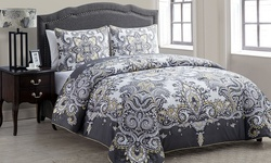 Istanbul Duvet Set: Grey-Yellow/Full-Queen (3-Piece)
