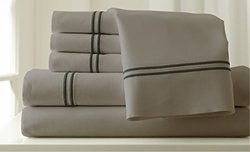 Pacific Coast 6Pc 1000TC Egyptian Bed Sheet Set - Silver/Graphite- Size: Q